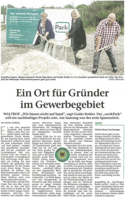 Spatenstich werkPark in der Zeitung